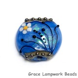 11838402 - Arctic Blue Florals Lentil Focal Bead