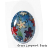 HA041824 - 18x24mm Porcelain Puffed Oval Sky Blue/Floral