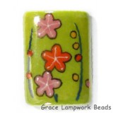 HA101824 - 18x24mm Porcelain Puffed Rectangle Lime Green/Floral