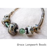 10203611 - Necklace w/Grad Green/Beige Free Style Rondelle Beads