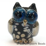 OWL-M-03- Black with silver dots free style owl bead, size M