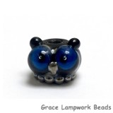 OWL-S-03 - Free Style with Black Base and Silver Dots Owl Rondelle Bead