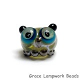 OWL-S-04 - Free Style with Olive Green Dots Owl Rondelle Bead