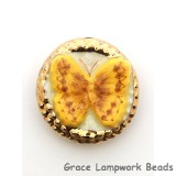 PB061800 - 18mm Porcelain Disk Yellow-gold Butterfly