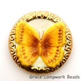 PB063600 - 36mm Porcelain Disk Yellow-gold Butterfly
