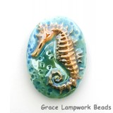 PM022432 - 24x32mm Porcelain Puffed Oval Seahorse