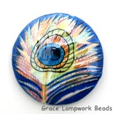 PP013600 - 36mm Porcelain Disk Blue Peacock Feather