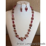 LC- Necklace with 11106311 Graduated Red & Ivory w/Beige Dot Rondelle Beads