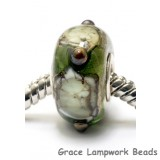 SC10002 - Large Hole Green w/Silver Foil Rondelle Bead