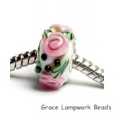 SC10007 - Large Hole White w/Pink Flower Rondelle Bead