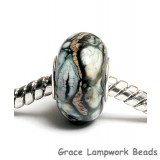 SC10009 - Large Hole Black w/Silver Ivory Rondelle Bead