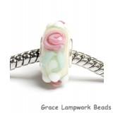 SC10012 - Large Hole Ivory w/Pink Flower Rondelle Bead