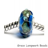 SC10019 - Large Hole Deep Ocean Blue w/Silver Foil Rondelle Bead
