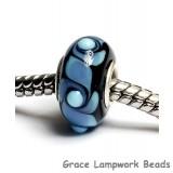 SC10025 - Large Hole Blue w/Black Rondelle Bead
