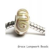 SC10028 - Large Hole Ivory w/Beige Stringer Rondelle Bead