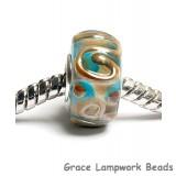 SC10031 - Large Hole Light Blue w/Metal Stringers Rondelle Bead
