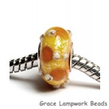 SC10034 - Large Hole Dark Yellow w/Silver Stringer Rondelle Bead