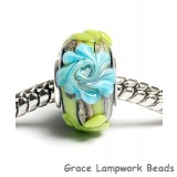 SC10038 - Large Hole Green w/Blue Flower Rondelle Bead