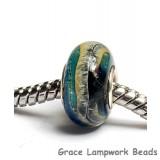 SC10040 - Large Hole Blue & Beige Free Style Rondelle Bead