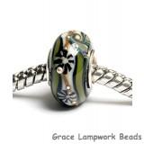 SC10045 - Large Hole Green w/Ivory Japanese Kimono Rondelle Bead