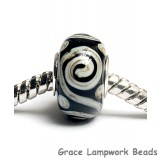 SC10046 - Large Hole Black w/Silver Ivory String Rondelle Bead