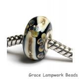 SC10049 - Large Hole Black/Ivory & Beige Rondelle Bead