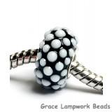 SC10050 - Large Hole Black w/White Dots Rondelle Bead