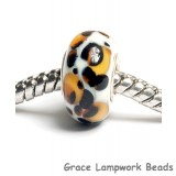 SC10055 - Large Hole Ivory w/Amber & Black Dots Rondelle Bead