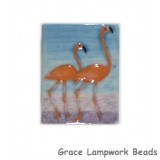 WL033040 - 30x40mm Porcelain Puffed Rectangle Flamingos